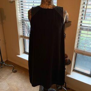 Black Sheath Dress w/ Faux Leather Detail